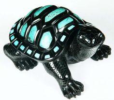 "6.2 "" Carved Black Obsidian & Turquoise Turtle Sculpture, via rikoo.com"