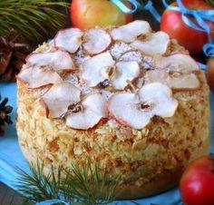 [b]Этот торт понравится любителям слоеных тортов[/b], напоминает мокрый «Наполеон». Особую сочность и изюминку ему придает прослойка из яблок в сиропе. А ванильный крем очень хорошо дополняет яблочный...