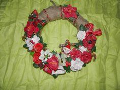 handmade christmas wreath with polymer clay flowers and santa (diameter 30 cm) information: asimi kai fos: elmousou@live.com