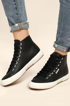 5a59e0f4dd Superga 2795 FGLU Black Leather High-Top Sneakers