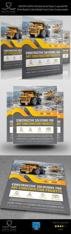 Construction Flyer Template PSD. Download here: https://graphicriver.net/item/construction-flyer-vol5/17571847?ref=ksioks