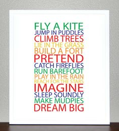 Items similar to Kids room wall art, BE A KID - Primary and Secondary colors - Poster on Etsy