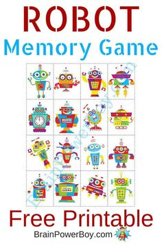 Try this fun Robot memory game. I love free printable games for kids and this one is great.