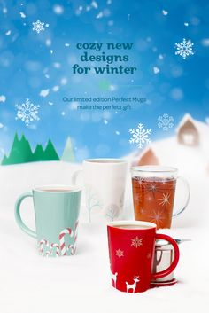 WINTER 2014 - Four festive new prints, in all colours and tints. Davids Tea, Tea Recipes, All The Colors, Tea Time, Christmas Holidays, Festive, Coffee Mugs, Colours, Tableware