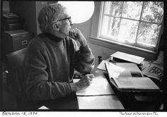 John Updike at his writing desk. Photo by Jill Krementz, October 13, 1994
