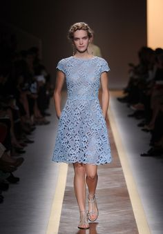 Valentino Spring 2012 Ready to Wear :  Powder blue lace shift.    Elegant for any occasion