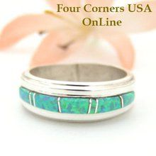 Size 7 1/4 Green Fire Opal Inlay Ring Native American Silver Jewelry by Wilbert…