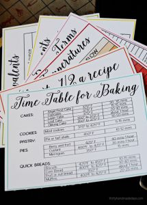 Printable cooking and baking cheats- - cards full of information from thirtyhandmadedays.com