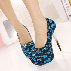 Fashion Round Toe Closed Toe Stiletto High Heel Basic Blue PU Pumps     QJ131209435-1 on Chiq  $18.49 www.chiq.com/...