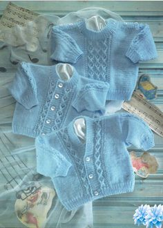 This is a Pdf knitting pattern for a baby cardigan and jumper set with cable design To fit 0 - 2 years Chest 16 - 22 inch Worked in Snuggly DK Baby Cardigan Knitting Pattern Free, Baby Boy Knitting Patterns, Crochet Baby Jacket, Knitted Baby Cardigan, Knitting For Kids, Baby Patterns, Free Knitting, Double Knitting, Knitting Yarn