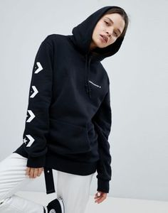 77a8aacf021b1 Converse Star Chevron Graphic Pullover Hoodie In Black at asos.com