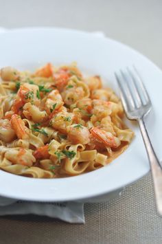 Prawn Pasta With Bisque Sauce