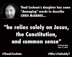 Thad Cochran's Liberal Daughter Rails Against McDaniel Supporters | RedState