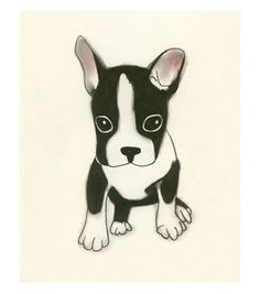 Boston Terrier dog art print - Good things come in small packages -  4 X 6 dog art print. $6.50, via Etsy.