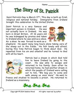 The story of St. Patrick: reading/ 3 vocabulary worksheets/ sequence strip story/ making information questions/ scrambled words