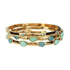 Lauren Ralph Lauren 3-Piece Turquoise Bangle Bracelet Set YES PLEASE