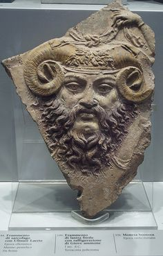 "Horned god, Ammon - ""Roman cast terracotta of ram-horned Jupiter Ammon, century AD (Museo Barracco, Rome)"" (Wiki) Roman Sculpture, Art Sculpture, Roman History, Art History, European History, Ancient Rome, Ancient History, Ancient Greece, Zeus Jupiter"