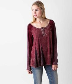 Gimmicks Washed Henley Top - Women's Shirts/Blouses in Winsor Wine | Buckle