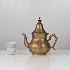 Mediterranean Brass Teapot Vintage Teapot with by CozyTraditions