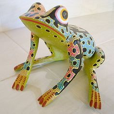 Mexican Oaxacan Wood Carving Frog ALEBRIJE Oaxaca Mexico Hand Crafted Art | eBay