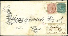 "India BUSHIRE: 1876 (Oct 7) Envelope sent registered with 1865 1a brown and 1866-78 4a blue-green tied by Bushire ""K-5"" duplex, with registered bo..."