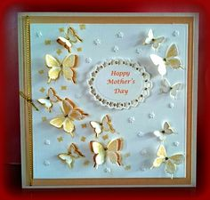 Easy Mother's Day card using Butterfly Arch Stamp & Die Set from Chloe's Creative Cards & Spellbinders Oval
