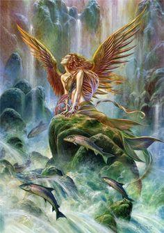 Gabriel Angel of Water Card, Briar Elemental Archangel Cards - EnchantedJewelry - 1