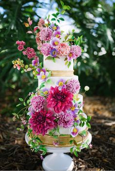 Colorful Sugar Flower Wedding Cake by Alex Narramore (The Mischief Maker) - http://cakesdecor.com/cakes/300476-colorful-sugar-flower-wedding-cake