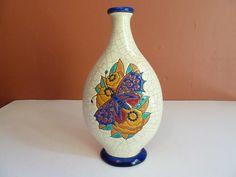 Antique Longwy France French Art Deco Period Earthenware Vase Bottle Butterfly | eBay