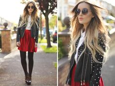 Leather jacket + red skirt