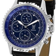 #Konigswerk #Mens #Multifunction #Watch #Blue #Dial #Crystal #Markers #Black #Leather #Band SQ201426G | #Bydepot Markers, Black Leather, Band, Watches, Crystals, Stuff To Buy, Accessories, Sharpies, Sash