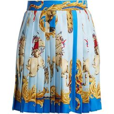 Versace Native American-print pleated silk-twill skirt (5,195 MYR) ❤ liked on Polyvore featuring skirts, blue print skirt, knee length flared skirts, versace, pleated flare skirt and colorful skirts