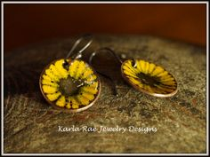 Vitreous enamel on copper sgraffitto, Sunflowers, sterling silver earwires Karla Rae Jewelry Designs