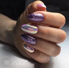 Amazing nail designs ideas you may find them on almond-shaped nails, semicircular, long nails, in form of soft oval or square or in even pointed shape Cute Acrylic Nail Designs, Cute Acrylic Nails, Glitter Nails, Cute Nails, Pretty Nails, Nail Art Designs, My Nails, Purple Nail Art, Oval Nails