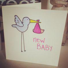 Cute hand drawn new baby card Etsy listing at https://www.etsy.com/listing/185260494/handmade-new-baby-card