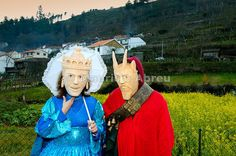 Traditional wooden masks during carnival. Lazarim, Beira Alta, Portugal