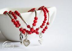 Red Heart Bracelet Valentine Friendship Charm by AnnesJewellery
