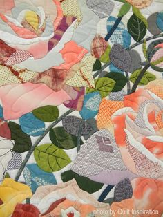 """close-up:  Rose Garden, ~91 x 78"""", by Junko Yazawa  Quilt Inspiration: Symphony of Colors: Japanese quilts"""