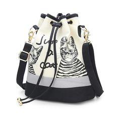 Retro Canvas Bucket Cute Cat Shoulder Bag
