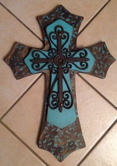 Large Walnut Stain and Turquoise Wood Cross by SignsBYDebbieHess, $45.00
