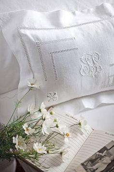 white monogrammed linens | bedrooms