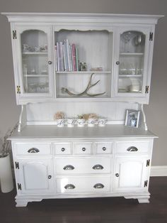 shabby chic china cabinet Maybe pait it turquoise and then do a black wash over top... Hummmm