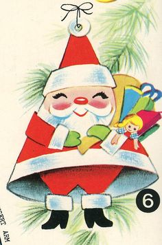 vintage Santa illustration (and actually a cute crafting idea - could easily be made with a paper cone)