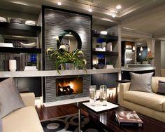 Deluxe Condominium Interior in Glamorous Style : Cozy Modern Living Room Design Cream Sofa Bexley Gateway Condominium