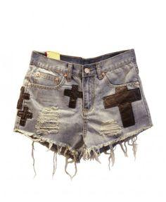 Frayed Edge Denim Shorts with Applique Cross Details