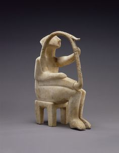 Male Harp Player of the Early Spedos type; Unknown; Cyclades, Greece; 2700 - 2300 B.C.; Marble; 35.8 x 9.5 x 28.1 cm (14 1/8 x 3 3/4 x 11 1/16 in.); 85.AA.103