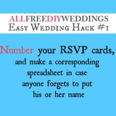 Number your RSVP cards!