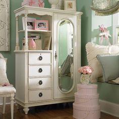 Cadence Cameo Mirror Door Chest in distressed vintage white from PoshTots $1155 #PoshTotsNursery