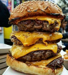 The One Pound Four Stack Cheddar Cheese Burger on a Grilled Sesame Seed Bun I Love Food, Good Food, Yummy Food, Healthy Food, Tasty, Big Burgers, Food Goals, Recipes From Heaven, Food Cravings