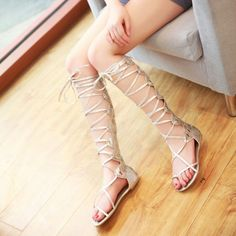 LADIES Gladiator Roman Sandals Lace-UP Knee High Slingback Shoes Silver USA Sz 8